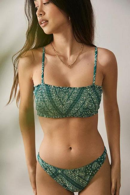 Urban Outfitters - Chartreuse Out From Under Bandana Shirred-Stretch Bandeau Bikini, Women