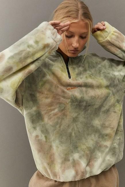 Urban Outfitters - Green iets frans... Tie-Dye Quarter-Zip Fleece Sweatshirt, Women