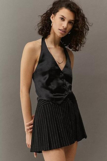 Urban Outfitters - Black UO Dakota Satin Waistcoat, Women