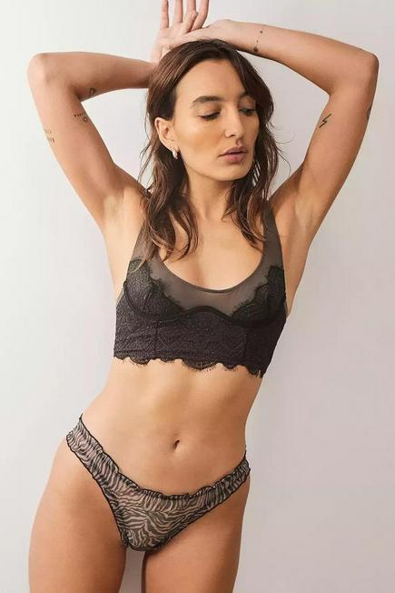 Urban Outfitters - Black/White  Out From Under Frilly Zebra Mesh Knickers, Women