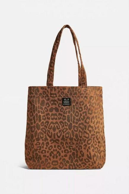 Urban Outfitters - Brown UO Corduroy Animal Print Tote Bag, Women