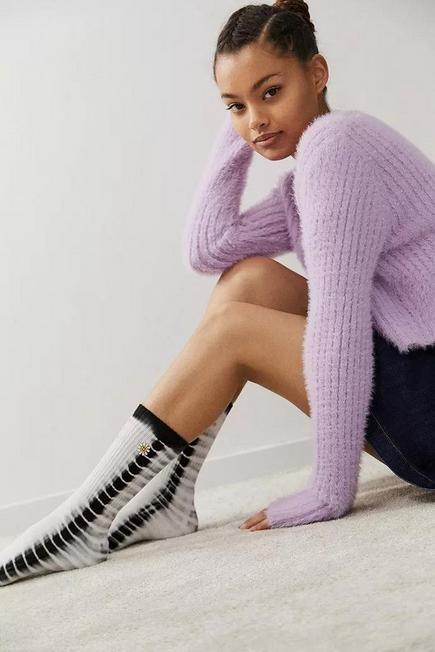 Urban Outfitters - Black/White  UO Smiley Tie-Dye Socks, Women