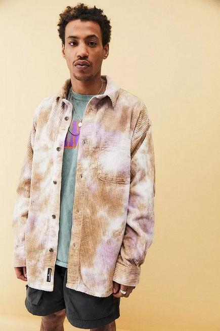 Urban Outfitters - Neutral BDG Tie-Dye Jumbo Corduroy Shirt, Men