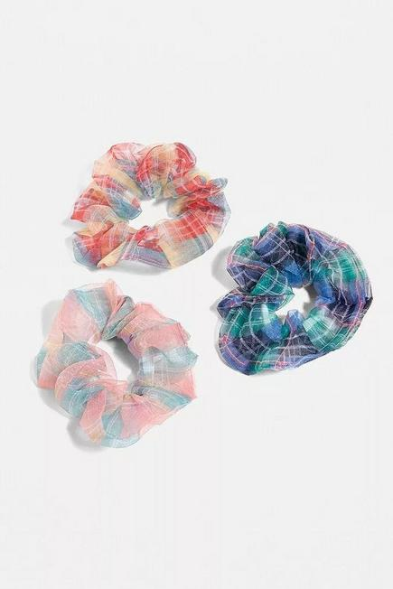 Urban Outfitters - Assorted Organza Check Scrunchie Set, Women