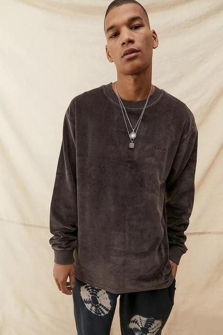 Urban Outfitters - Black iets frans... Long Sleeve Acid Wash Velour T-Shirt, Men
