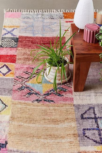 Urban Outfitters - PINK Cyra Pink Patchwork Chenille 2x3 Rug