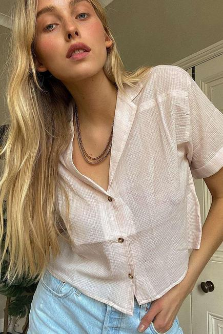 Urban Outfitters - Pink UO Gracie Dobby Shirt, Women