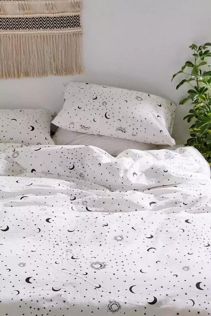 Urban Outfitters - Black/White Moon Duvet Cover Set With Reusable Fabric Bag