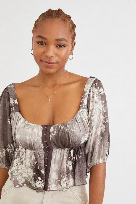 Urban Outfitters - Black/White UO Lisabeth Half Sleeve Blouse, Women