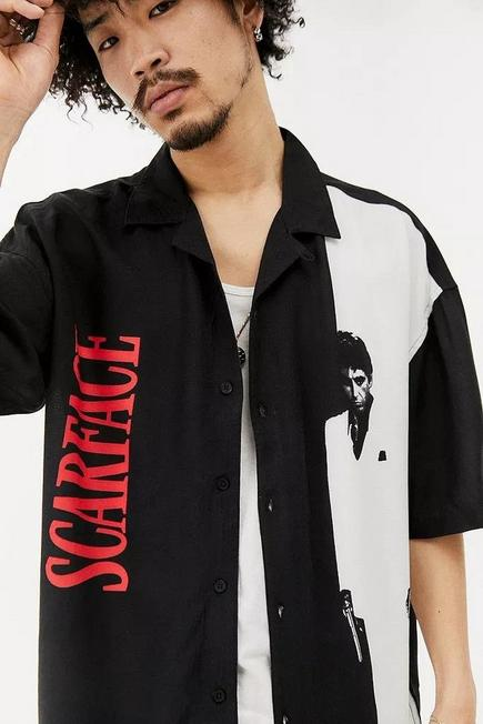 Urban Outfitters - Black UO Scarface Revere Shirt, Men