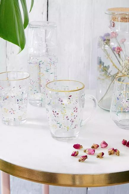 Urban Outfitters - Floral Glass Mug