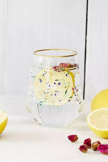Urban Outfitters - Assorted Floral Stemless Wine Glass