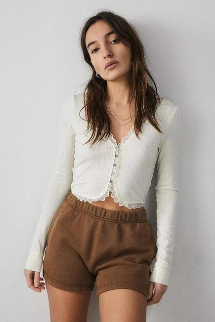 Urban Outfitters - Ivory Out From Under Yvonne Button-Through Cardigan, Women