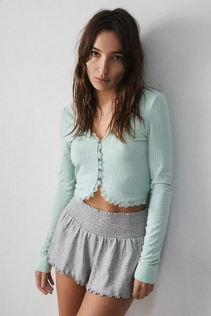 Urban Outfitters - Slate Grey Out From Under Yvonne Button-Through Cardigan, Women