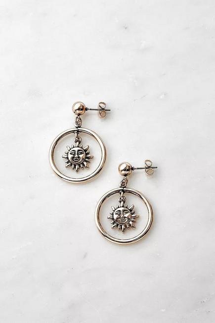 Urban Outfitters - Gold Celestial Drop Earrings, Women