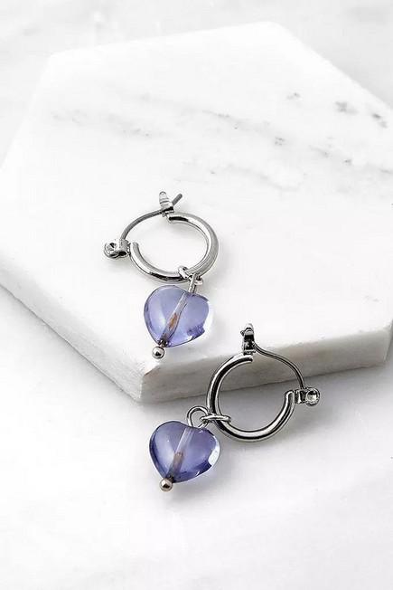 Urban Outfitters - Silver Luisa Mini Heart Charm Hoop Earring, Women