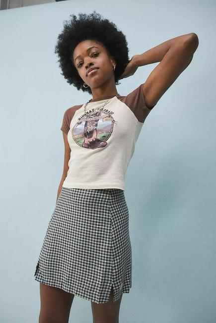 Urban Outfitters - Mint UO Check Notch Mini Skirt, Women