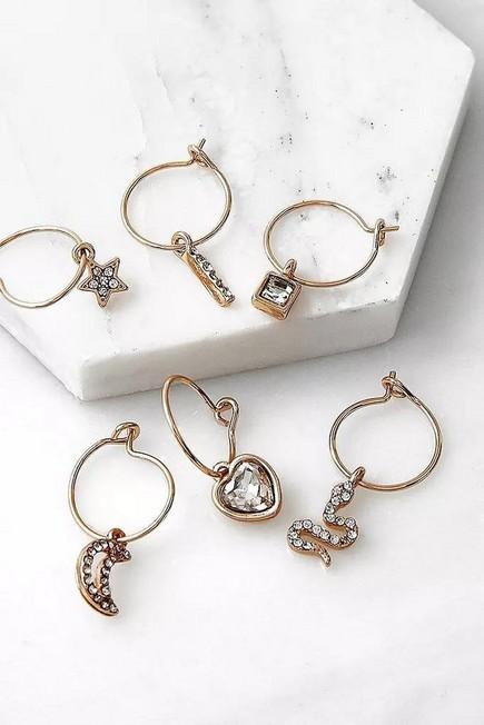 Urban Outfitters - Gold Charli Rhinestone Charm Hoop Earrings 6-Pack, Women