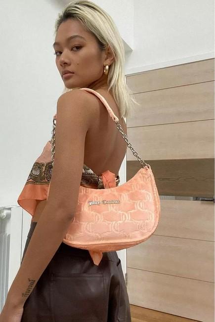 Urban Outfitters - Orange Juicy Couture Velour Monogram Shoulder Bag, Women