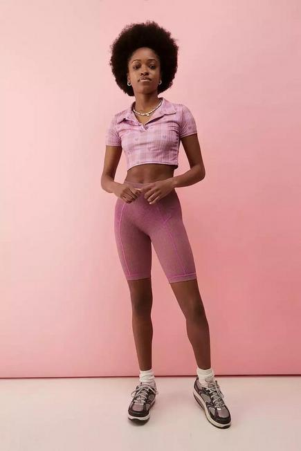 Urban Outfitters - Purple UO Space Dye Knitted Cycling Shorts, Women