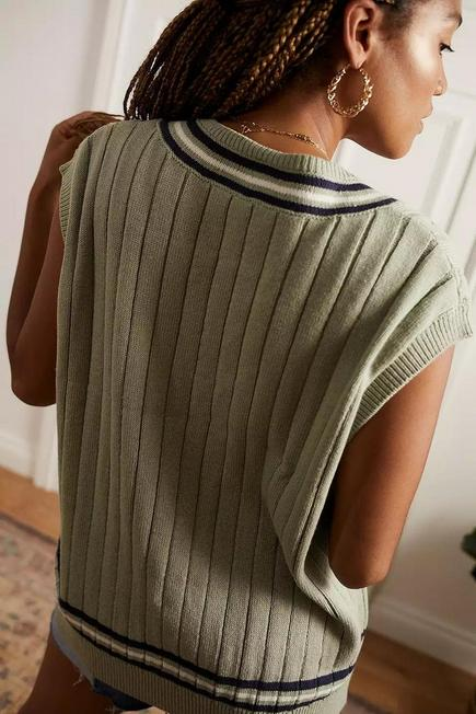 Urban Outfitters - Green UO Knitted Cricket Vest, Women