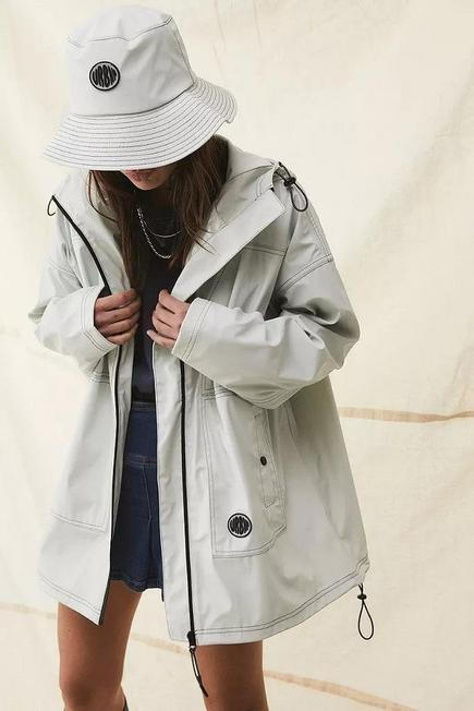 Urban Outfitters - Ivory UO Oversized Hooded Raincoat, Women