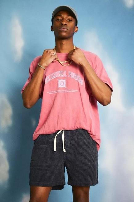 Urban Outfitters - Navy BDG Washed Jumbo Corduroy Shorts, Men