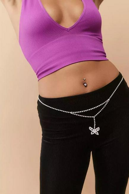 Urban Outfitters - Silver UO-Tone Chain And Diamante Butterfly Belt, Women