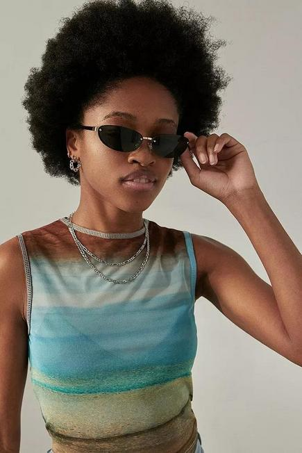Urban Outfitters - Green UO Rimless Oval Sunglasses, Women