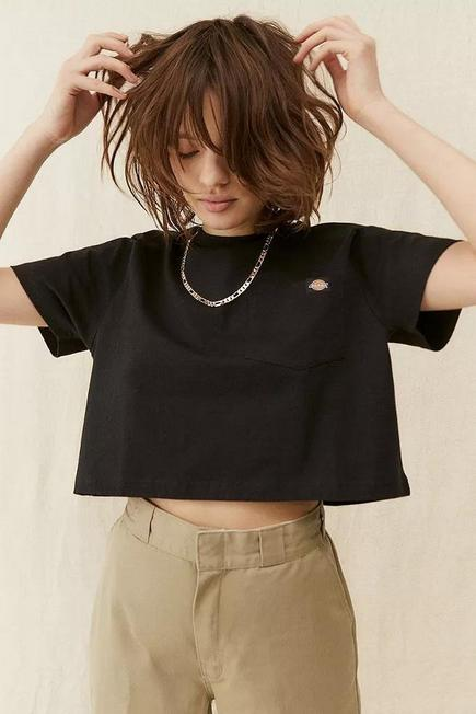 Urban Outfitters - BLK Dickies Porterdale Black Crop T-shirt