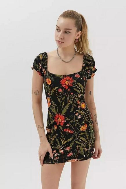 Urban Outfitters - Black Motif UO Ella Floral Print Bodycon Mini Dress, Women