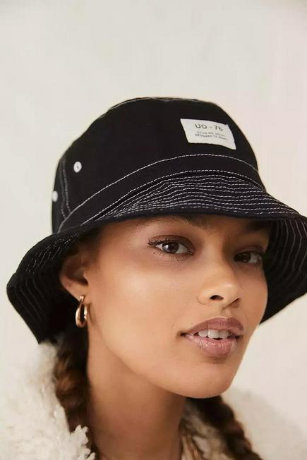 Urban Outfitters - Black UO Stitched Canvas Bucket Hat, Women