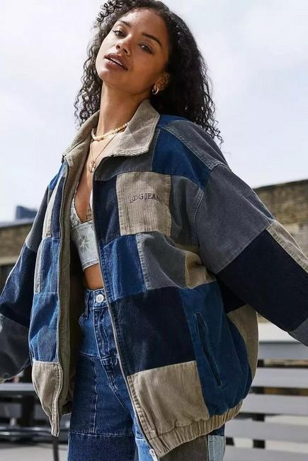 Urban Outfitters - Navy BDG Patchwork Corduroy Harrington Jacket, Women