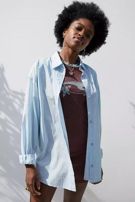Urban Outfitters - Blue BDG Sadie Poplin Boyfriend Shirt, Women