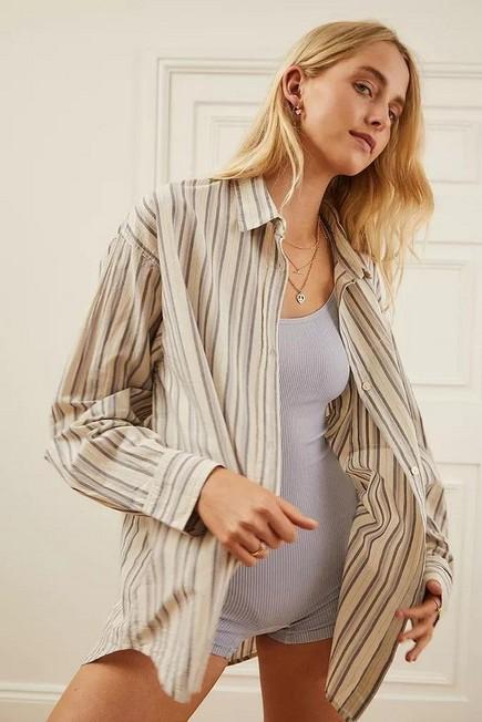Urban Outfitters - Ivory BDG Sadie Stripe Boyfriend Shirt, Women