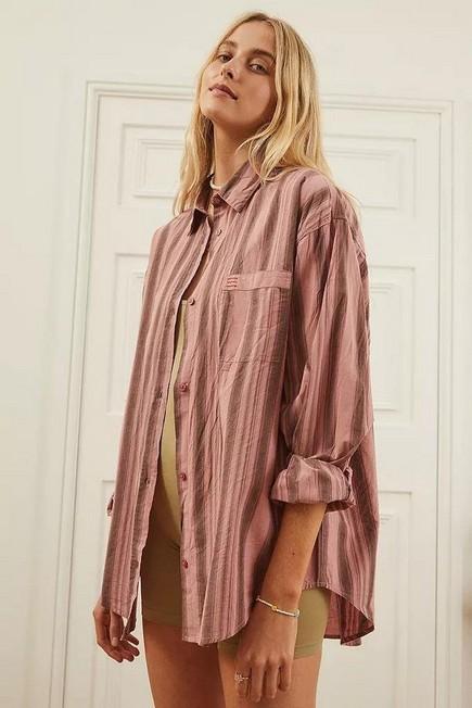 Urban Outfitters - Pink BDG Sadie Stripe Boyfriend Shirt, Women