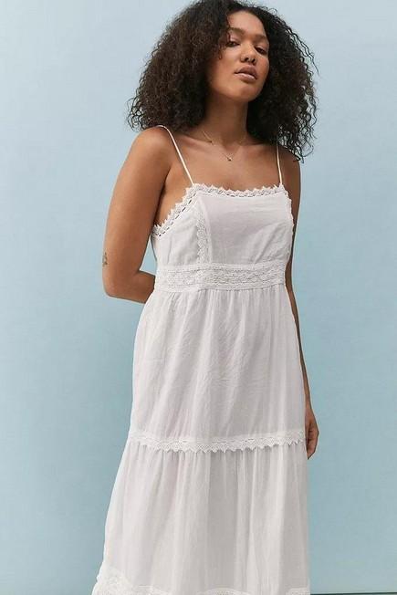 Urban Outfitters - White UO Lori Lace Trim Maxi Dress, Women