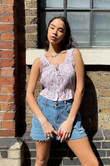 Urban Outfitters - PINK UO Nora Prairie Floral Top