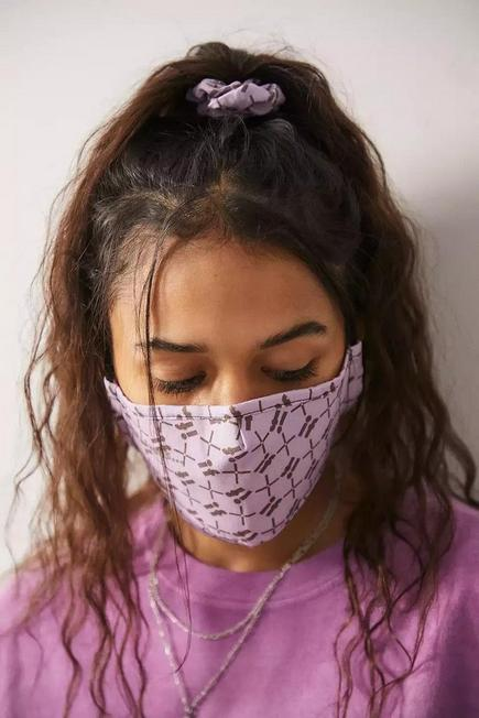 Urban Outfitters - Lilac iets frans... Monogram Face Mask And Scrunchie Set, Women
