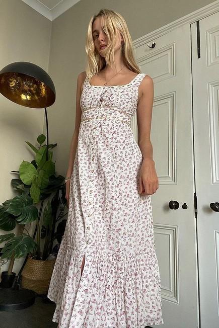 Urban Outfitters - White UO Jessie Floral Print Midi Sun Dress, Women