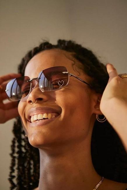 Urban Outfitters - Brown UO Rhinestone Rectangle Sunglasses, Women