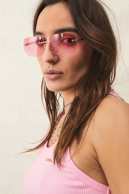 Urban Outfitters - Pink UO Rhinestone Rectangle Sunglasses, Women