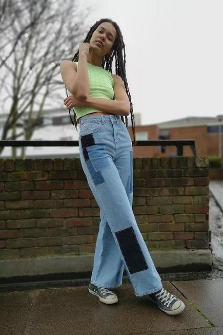 Urban Outfitters - Denim BDG Patchwork Heart Wide-Leg Puddle Jeans, Women
