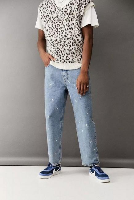 Urban Outfitters - Blue BDG Acid-Wash Splat Bow Jeans, Men