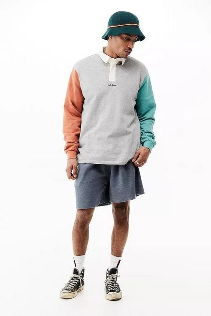Urban Outfitters - Grey iets frans... Contrast Sleeve Rugby Polo Shirt, Men