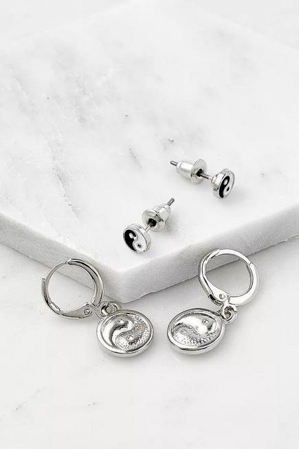 Urban Outfitters - Silver-Tone Yin and Yang Hoop And Stud 2-Pack, Women