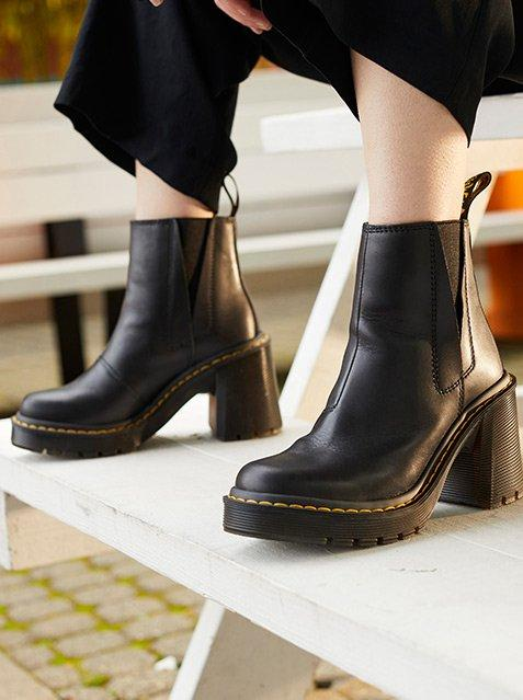 close up of dr martens spence heel boots