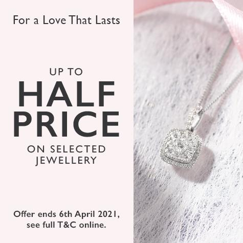 Up to half price on selected jewellery at Ernest Jones
