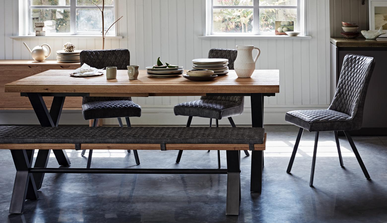 Scandi dining table chair and bench