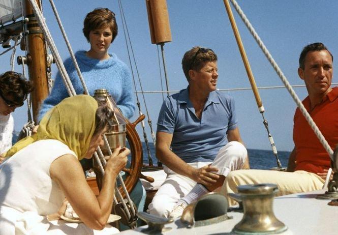 JFK on his sailboat 'Victura', 1962.